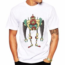 Men's Tops summer tshirt o-neck simple style t-shirt short sleeve Steam robot t shirt