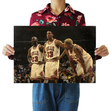 Bearoom Home Decoration Wall Stickers Retro Kraft Paper Poster NBA Bulls Big Three Stars for Kids Room Decal Shop Bar Cafe Paint(China)