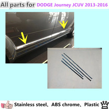 Car cover stainless steel Side Door Body trim stick Strip Molding Streamer lamp 4pcs for D0DGE Journey JCUV 2013 2014 2015 2016(China)