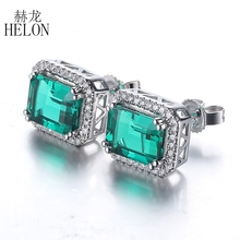 HELON Brilliant Grace ! Solid 10K White Gold Wedding 5x7mm Cushion 2.95ct Treated Emerald Pave 0.3ct Natural Diamonds Earrings(China)
