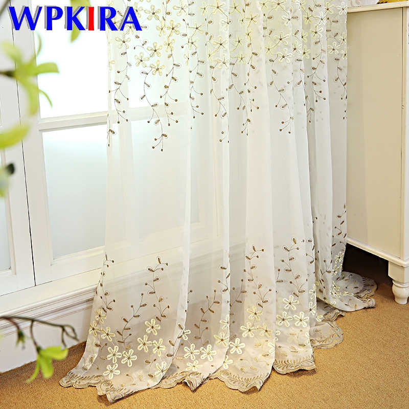 Fancy White Embroidered Floral Tulle Sheer Lace Curtain for Living Room Translucidous Window Voile Treatments Cortina WP273-30