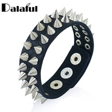 Gothic Delicate Cuspidal Spikes Rivet Cone Stud Cuff Black Leather bracelets & bangles Punk Bracelet for women men jewelry S266(China)