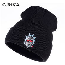 Rick and Morty Beanie Rick Smoking Hats Elastic Brand Embroidery Warm Winter Knitted Hat Skullies US Animation Ski Red Eyes Cap(China)