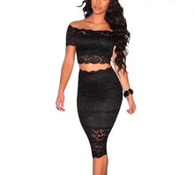 Must Have Solid Color Fashion Lace Off the Shoulder Two-pieces Set Celebrity Wear Bandage Dress