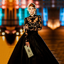 Gothic Black Sheer Ball Gown High Collar Long Sleeve Lace Wedding Dresses 2017 Long Puffy Bridal Gowns vestido de noiva TW252
