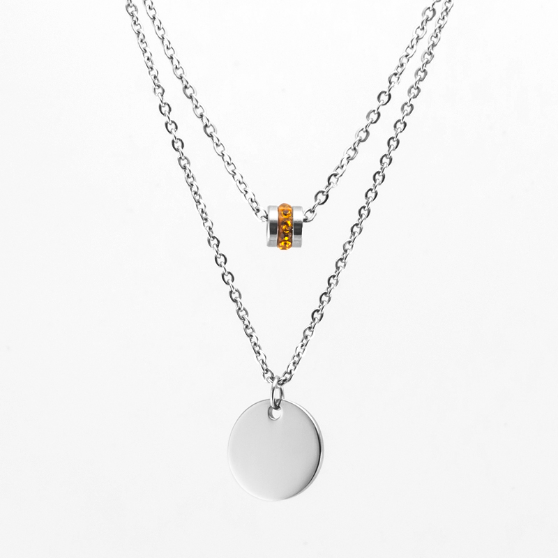 Simsimi Birth Stone Double Layer Choker Women Necklace Stainless Steel Rolo Cable Chain Female Gift Necklace Jewellery & Watches