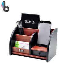 Wooden Multifunctional Desktop Stationery Organizer Pen Pencil Notebook Storage Box with Drawer(China)