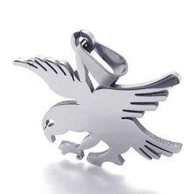 Fashion Jewelry 316L Stainless Steel Necklace Wire Cutting Silver Eagle Hawk Bird Pendant Necklaces 21077(China)