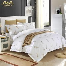 Luxury White Hotel Duvet Cover Set Quality King Queen Size Bed Linen/Cover 100% Cotton Bedding Set with Feathers Bed in a Bag