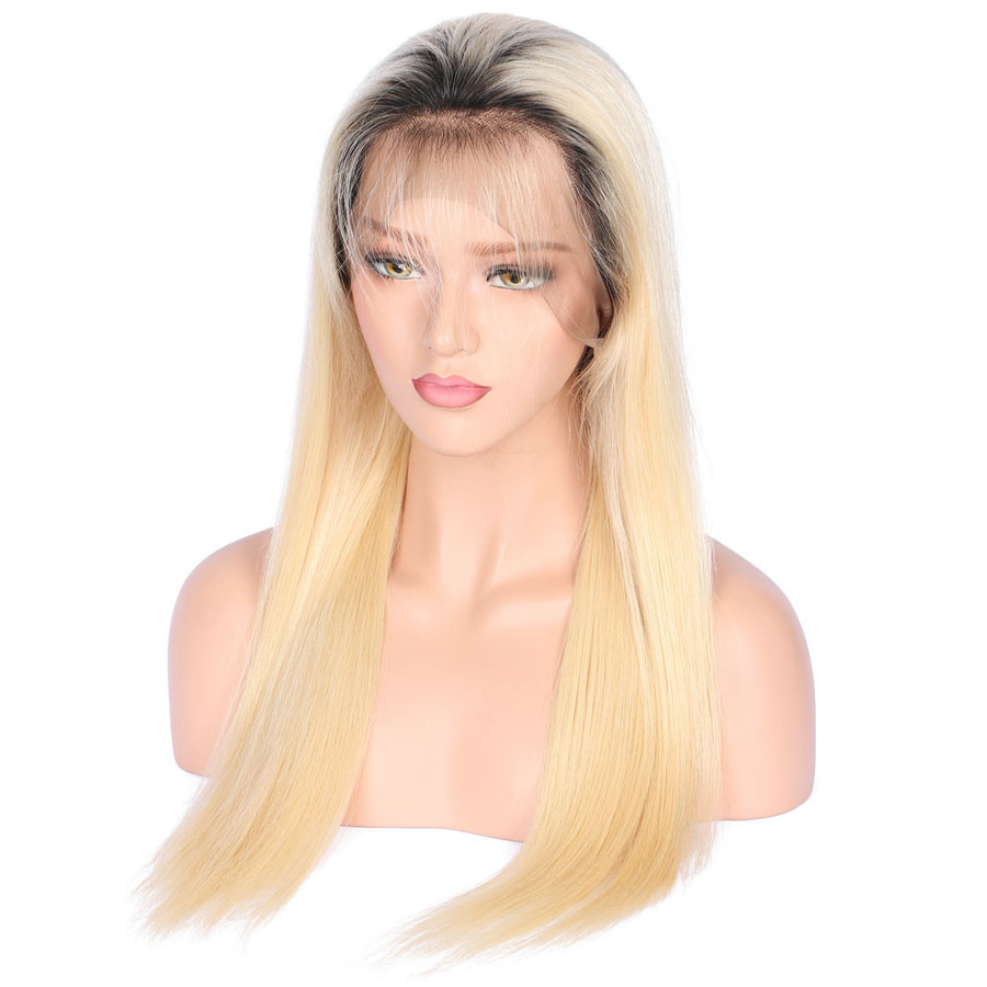 BEEOS #1bT#613 Glue Full Lace Wig With Baby Hair Pre Plucked Remy Ombre Blonde Human Hair Wigs Bleached Knots Average Cap (13)