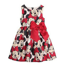 Free shipping 2015 New girl casual dress cartoon Minnie dress for girls dot print kids child baby dresses for christmas infant