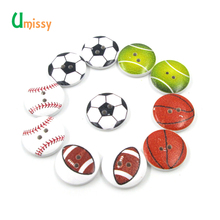 50pcs White Ground Ball Basketball Football Volleyball Game Pattern Round 2 Holes Wooden Buttons Scrapbooking Random Mixed 20mm(China)
