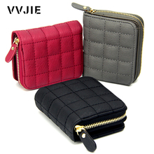 VVJIE Brand Wallet Women Short Zipper Coin Pocket Leather Wallet Money Clips Female Cards Purse Black Red Ladies Clutch Wallet