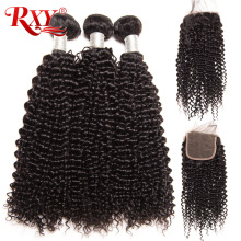 RXY Brazilian afro Kinky Curly Weave Human Hair Bundles with Closure 3 Bundles With Lace Closure Baby Hair NonRemy Natural Color(China)