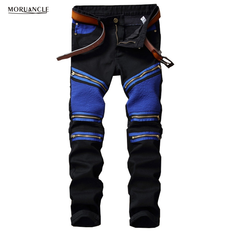MORUANCLE Brand Designer Men's Biker Jeans Fashion Pleated Denim Joggers Male New Motocycle Jeans Pants Multi Zipper Black Blue