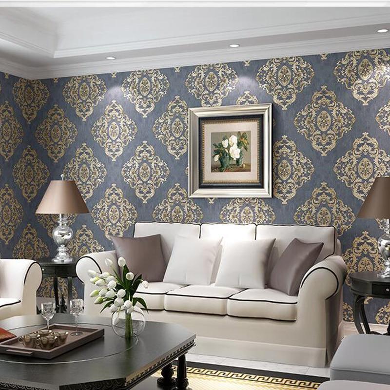 Q QIHANG European Style Non-woven Living Room Bedroom TV Background Wallpaper 0.53m*10m=5.3m2<br>