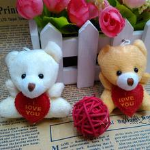 1pc 6cm fashion plush toy Cartoon bouquet doll wedding gifts Stuffed bear holding heart small pendant