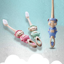 3 Pcs/lot Kids Toothbrush Antibacterial Cartoon Small Pig Soft Toothbrush Tongue Cleaner Travel Toothbrush