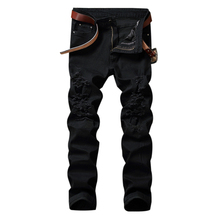 LASPERAL Fashion Punk Rock Mid Waist Trousers Wild Black Jeans Men Personality Ripped Straight Jeans Streetwear Hip Hop Jeans(China)
