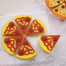 Free ship!10box!Creative stationery cute simulation pizza shape rubber erasers(box of 6)