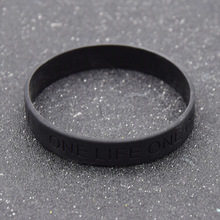 fashion lychee Black Silicone Wrist Band Bracelet One Life One Chance Cuff Wristband Rubber Bracelet Unisex Jewelry