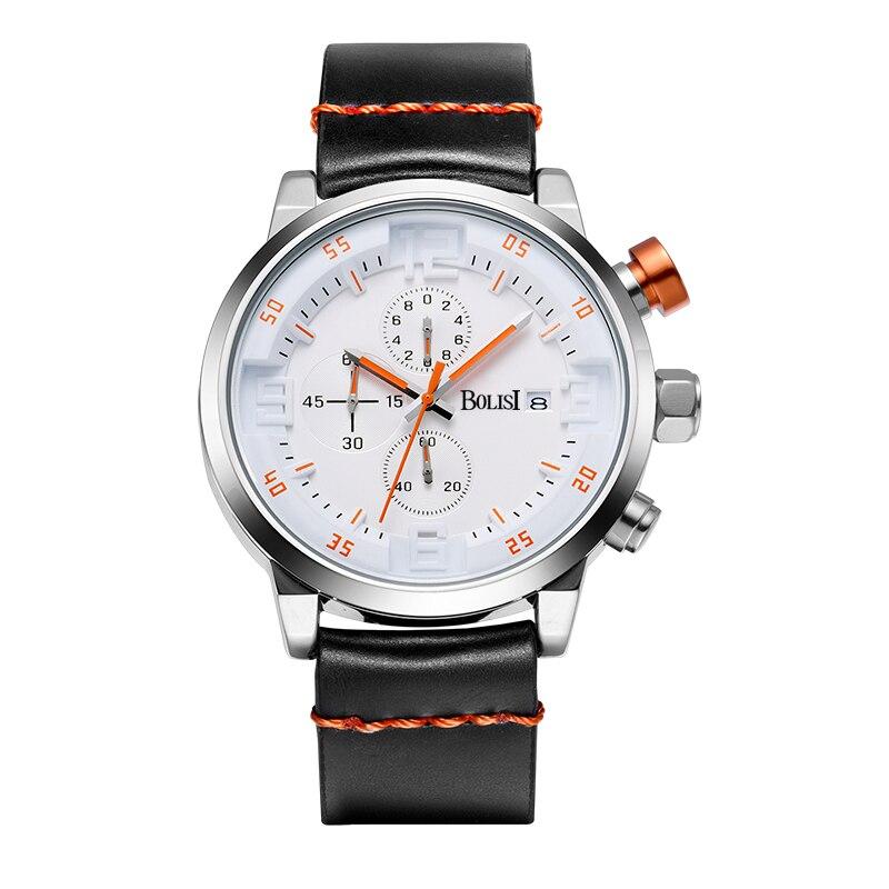 2017 New Luxury Men Watches Men Waterproof &amp; Chronograph  Leather Band Quartz Wrist Wristwatch Business Male Clock<br>