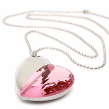 Fashion Crystal Love Heart USB Flash Drive 4GB 8GB 16GB 32GB 64GB Jewelry pen drive Girl Lady Gift Pendrive Flash Memory Stick(China)