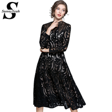 Buy SunnyYeah 2018 Black Lace Hollow Sexy Dress Women Clothing Plus Size Vintage Elegant Ladies Party Dresses Female Vestidos for $36.98 in AliExpress store