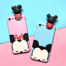 Cute 3D Mickey Minnie Dolls phone Cases For iphone 6 6s 6plus 7 7Plus Scrub soft silicon case back cover for iphone 6