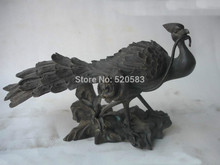 Chinese Absolute Pure Bronze Peacock mouth Diao Lucky flowers Animal Statue fast
