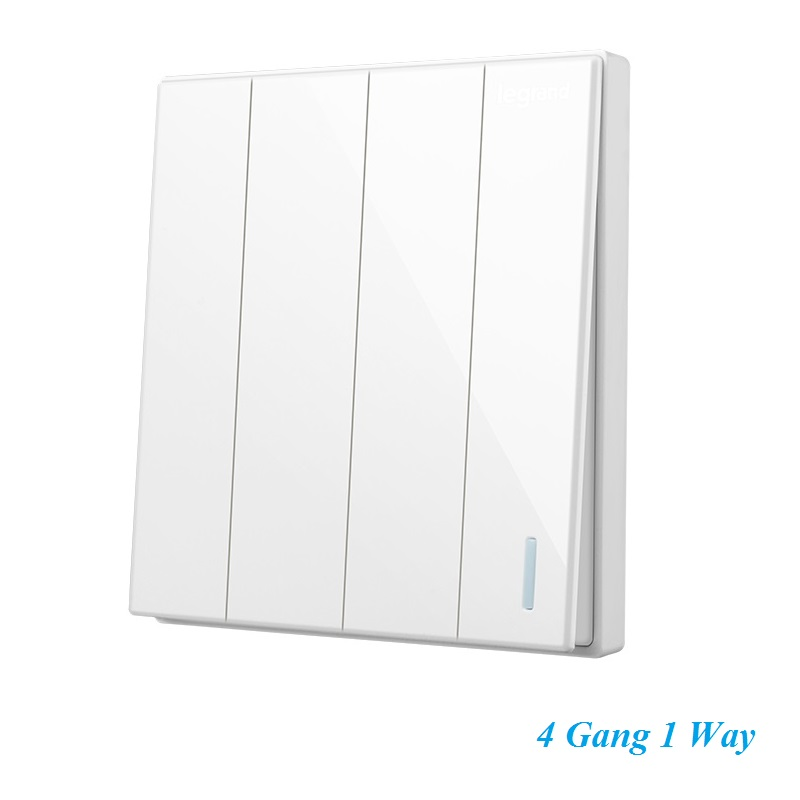 High Quality Classic Magnolia White Large Panel Wall Switch With Fluorescence 4 Gang 1 Way Single Control Switch 86type<br><br>Aliexpress
