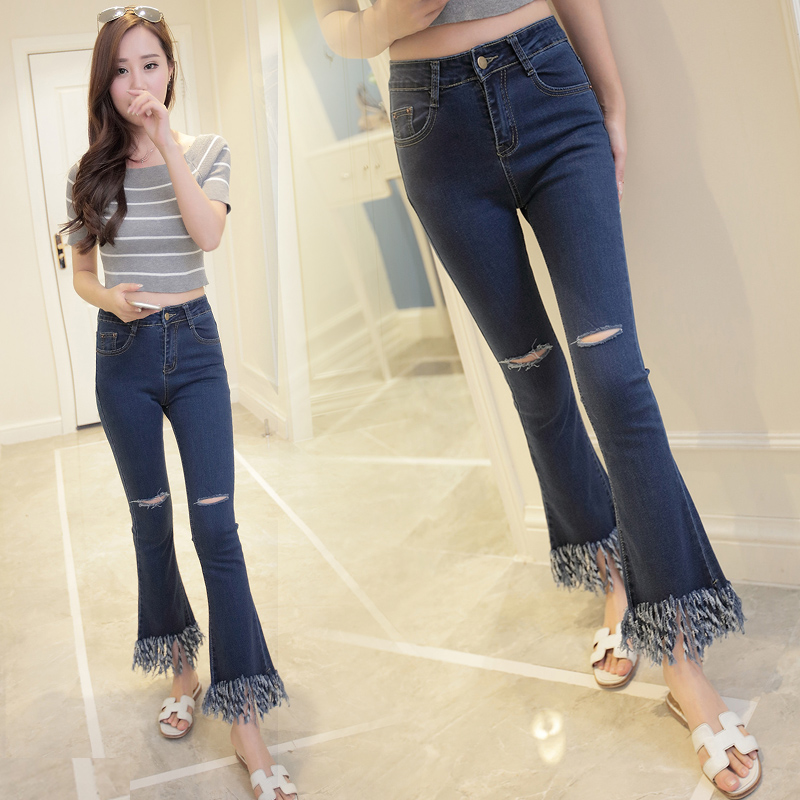 tassel denim Women Sexy Hole Denim Skinny Pants High Waist Cut-Out Ripped Jeans Stretch Pants Feet Blue Jeans  Pants TrousersОдежда и ак�е��уары<br><br><br>Aliexpress