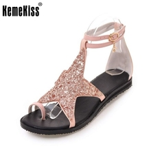 KemeKiss Size 34-43 Ladies Flats Sandals Star Ankel Strap Flip Flops Summer Shoes Women Sexy Club Party Beach Female Footwears