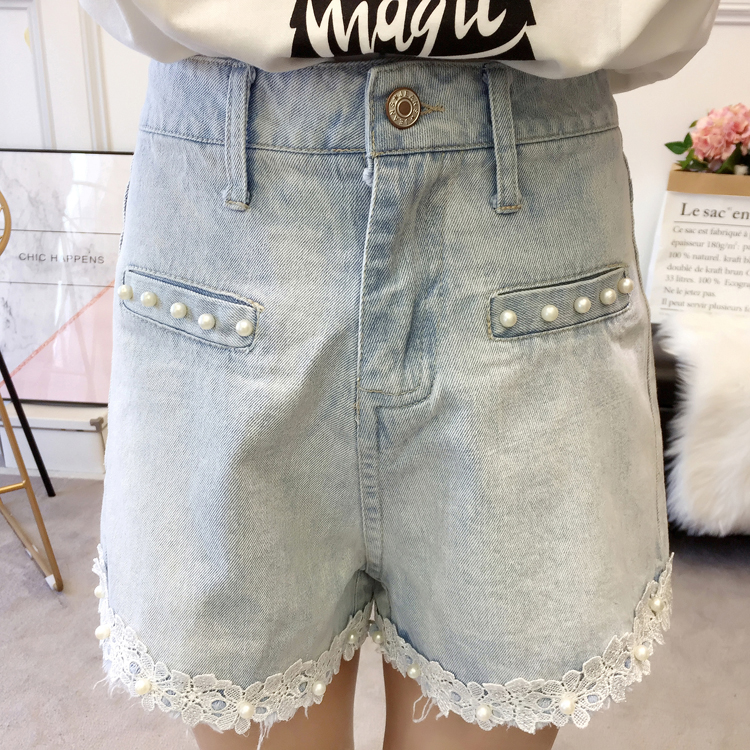 Woman Summer Denim Shorts Light Blue Wash Jeans Short Women Beaded Denim Bottoms Girls Plus Size Street Look Lace Hem Jeans Short 5XL 4XL 3XL XL (16)