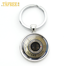 TAFREE Vintage camera lens art picture keychain CL02 cool photographer gifts for men round glass alloy key chain jewelry KC138