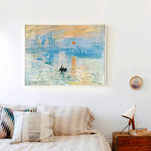 Popigist Impressionist Painter Monet Sunrise Abstract Oil Painting Canvas Art Print Poster Picture Wall House Decoration Murals(China)