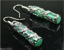 Hot sale new Style >>>>Imperial Inlay Natural Green stone Dragon 925 Sterling Silver Earrings(China)