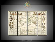 4 Pieces/set World Map Wall Pictures Modern Wall Painting Home Art Picture Paint on Canvas Prints for Living Room
