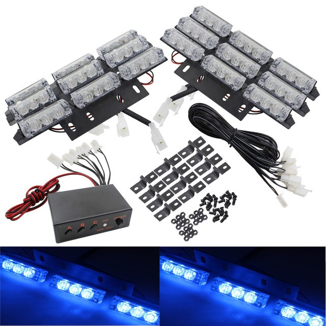 03024 New Arrival Universal Car Emergency Flash Light 6X9LED 54 LED Grille Deck Lightbar Strobe Flashing Light 12V Free Shipping<br>