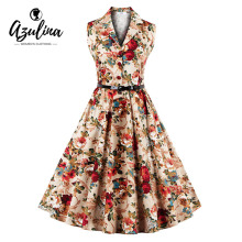 Buy AZULINA Vintage Floral Print Dress Women 50S 60S Audrey Hepburn Rockabilly Party Dress Sashes S-4XL plus size Summer Dress for $14.21 in AliExpress store