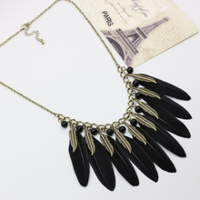Fashion Indian native feather long design necklaces for women wholesale charms Black Vintage(China)