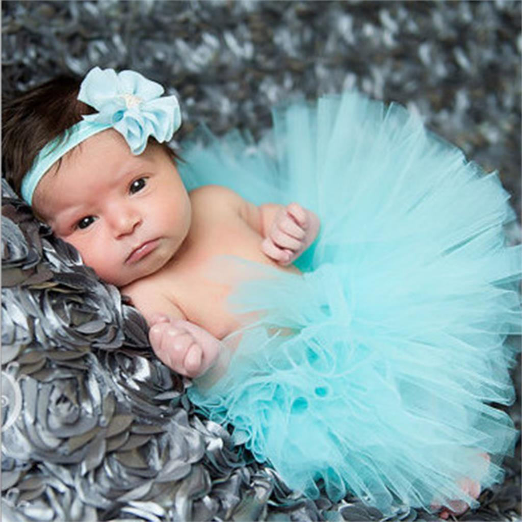 Newborn Photography Props Infant Costume Outfit Princess Baby Tutu Skirt Flower Headband