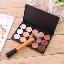 High Quality Concealer Palette 15 Color Concealer Facial Face Cream Care Makeup base Palettes Cosmetic + Round Top Brush Tool