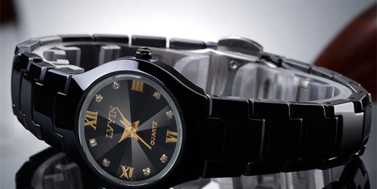 Lovers Black Ceramic Dress Watch, Quartz, Calendar, Roman Hours Crystals 19