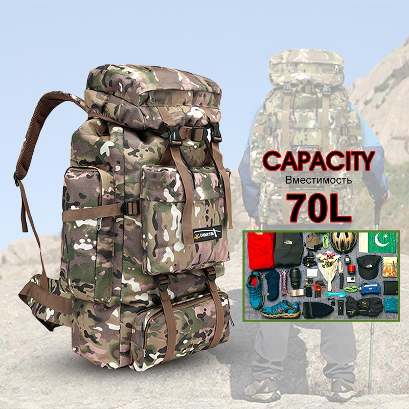 70L Men Bag Military Backpack Mountain Sport Outdoor Travel Camping Hunt Molle