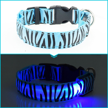 Dogstory Fashion Zebra Nylon Pet Collars LED Glow Cat Dog Collar Pet Product Wholesale Sales Dog Harness 7 Colors Free Shipping