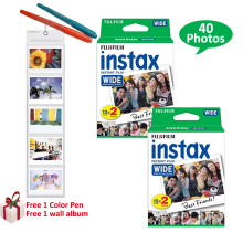40 Prints Fujifilm Instax Wide Films Plain White Edge Paper For Fuji Instant Wide Photo Camera 300 200 210 100(Hong Kong)