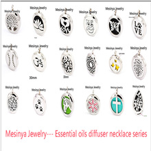 10pcs 2016 popular (30mm) Aromatherapy / Essential Oils 316L S.Steel Perfume Diffuser Locket pendant Necklace mother's day gift