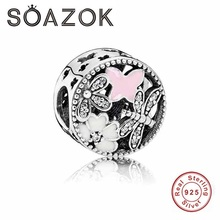 SOAZOK 2017 Autumn Collection Dragonfly Butterfly Charm Beads 925 Sterling Silver Jewelry Fits Original  Pandora Charms Bracelet