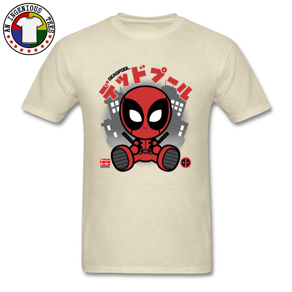 Deadpool Chibi 1226 T-Shirt Graphic Short Sleeve Casual Pure Cotton Crewneck Mens Tops T Shirt Customized Tshirts Summer Deadpool Chibi 1226 beige